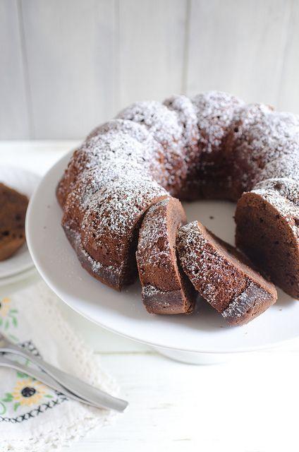 Cinnamon-Chocolate Pound Cake. Made with semisweet chocolate, butter, sugar, eggs, chocolate syrup, vanilla, all-purpose flour, cinnamon, baking soda, salt, buttermilk, and powdered sugar.