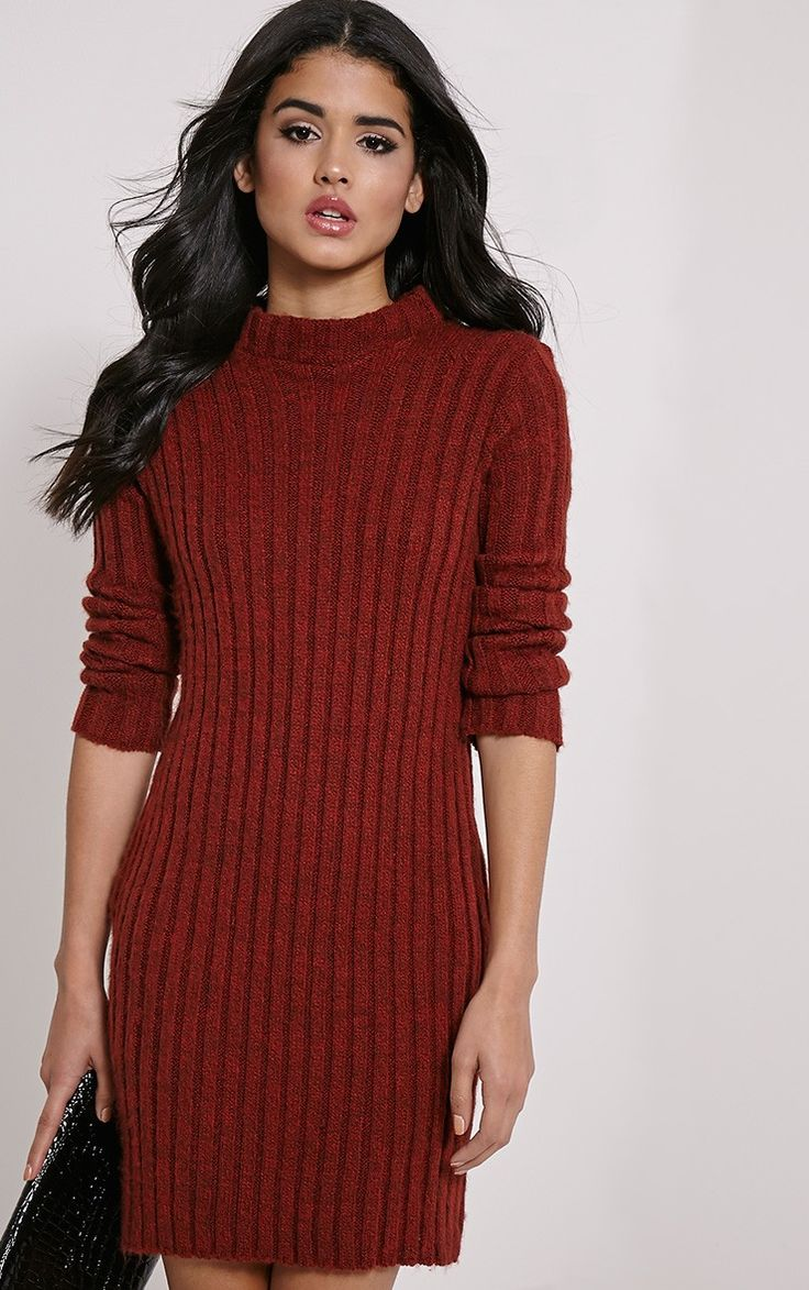 Kirby Rust Marl Long Sleeve Knitted Dress