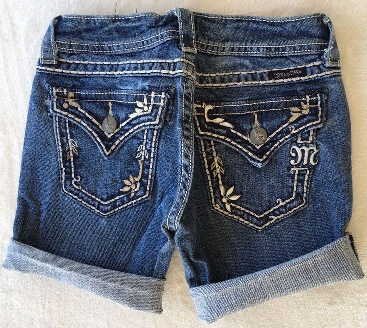 MISS ME JEANS SALE Buckle Cut Off Stretch Cuffed Flap Denim Blue Jean Shorts 25 #MissMe #Jean