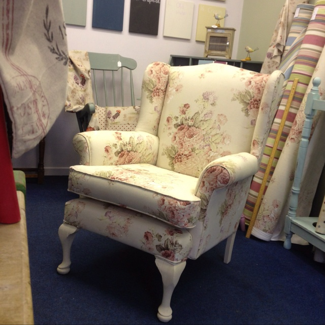 Wing back chair covered in Annie Sloan 'faded roses'