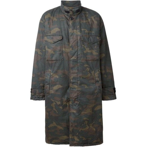 Yeezy Adidas Originals by Kanye West Camo Parka ($2,444) ❤ liked on Polyvore featuring outerwear, coats, green, green coat, green parka, camo parka, camo coat and camouflage coat