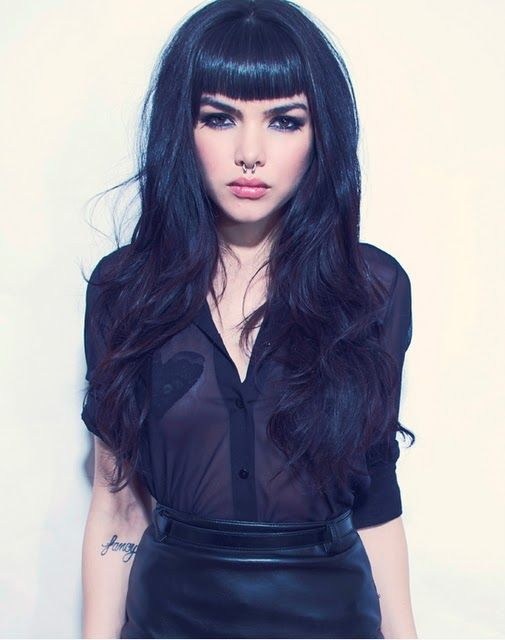 long black hair with bangs-can't wait for my hair to grow long!