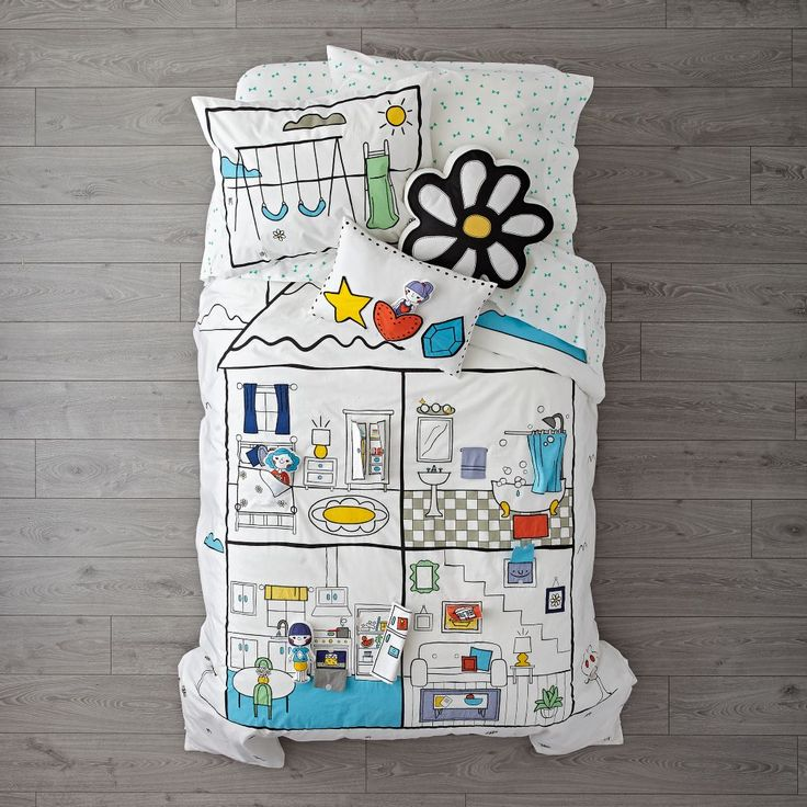 Shop Interactive Dollhouse Bedding Set.  It's bedding.  It's a dollhouse playset.  Wait, it's both? Our interactive dollhouse bedding features the 100% cotton comfy construction you want in your kids bedding, plus the imaginative design of a dollhouse.