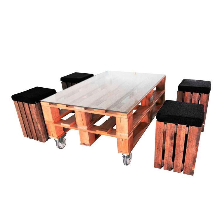 Apyou Mesa y taburetes Palet Conjunto de mesa de centro y taburetes Palet de Apyou. Original diseño fabricado con listones de madera envejecida. Decora tu...