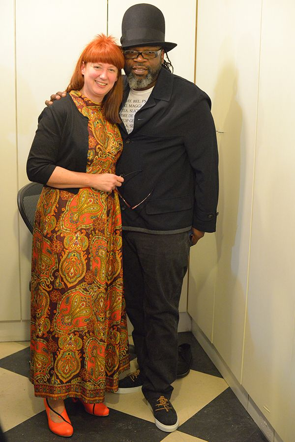Jazzie B wearing his Tracey Neuls with designer Tracey Neuls