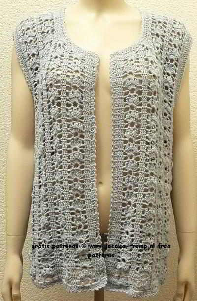 free women's sleeveless cardigan crochet pattern with fantasy stitch