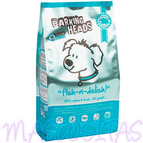 Fish N Delish Grain Free es un alimento repleto de pescado, con un 50% de Salmón y Trucha, Está diseñado para todo tipo de perros.