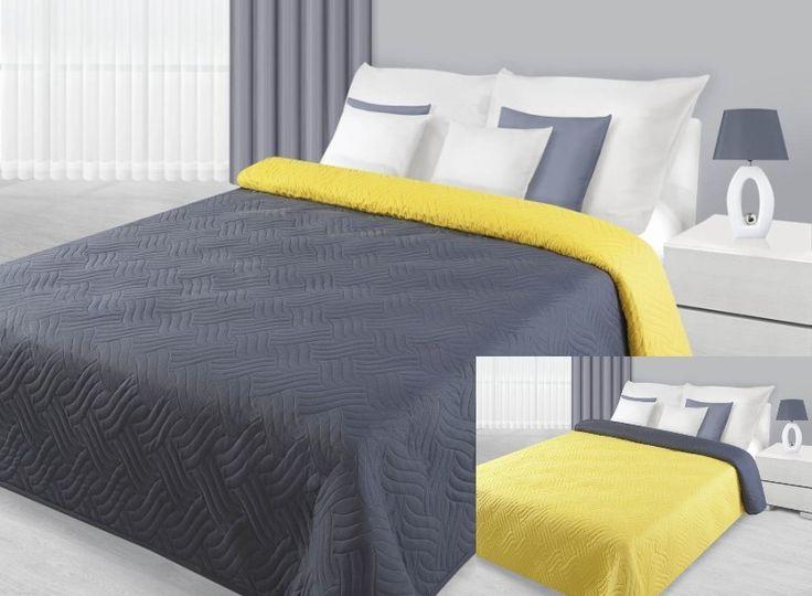 Přehoz na postel šedě žlutý s prošíváním