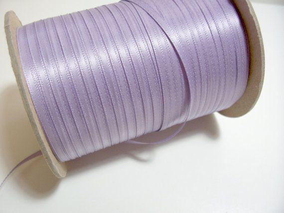 Offray Thistle Satin Ribbon 1/8 inch wide x 10 yards, Double Face, Purple Ribbon #Offray