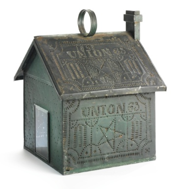 Painted Folk Art Tinware House Lantern with significant Union icons throughout.  Dated 1863.