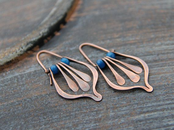 Lotus petal and fringe swing hoop earrings in by Keepandcherish
