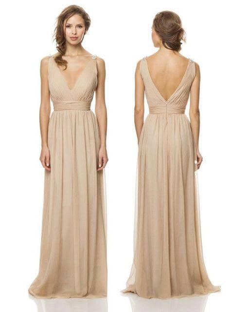 Hot & Sexy 2014 Simple V cuello Champagne gasa dama de honor larga vestidos Backless Formal de los vestidos de playa vestido de dama para bodas: