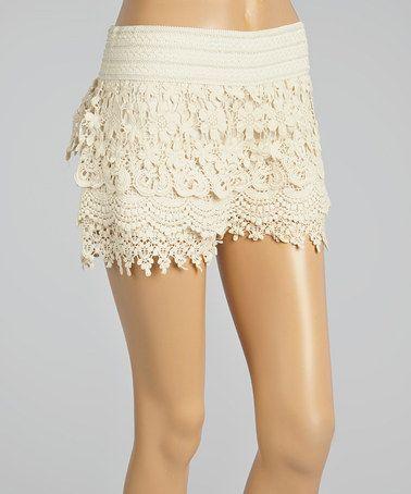 Loving this Beige Crocheted Tier Shorts on #zulily! #zulilyfinds