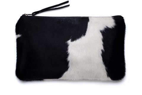 Black + White Cowhide Clutch