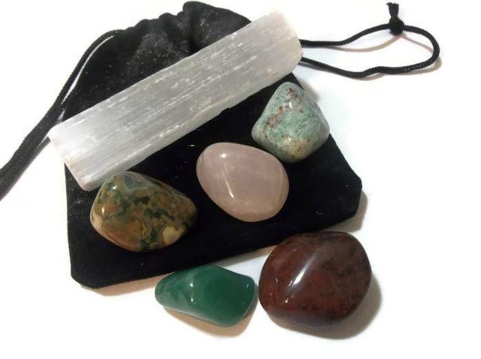 6 pcs Healing Crystals & Stones With Selenite Crystal Magic Set