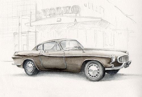 watercolor 21 x 31cm  Volvo p1800