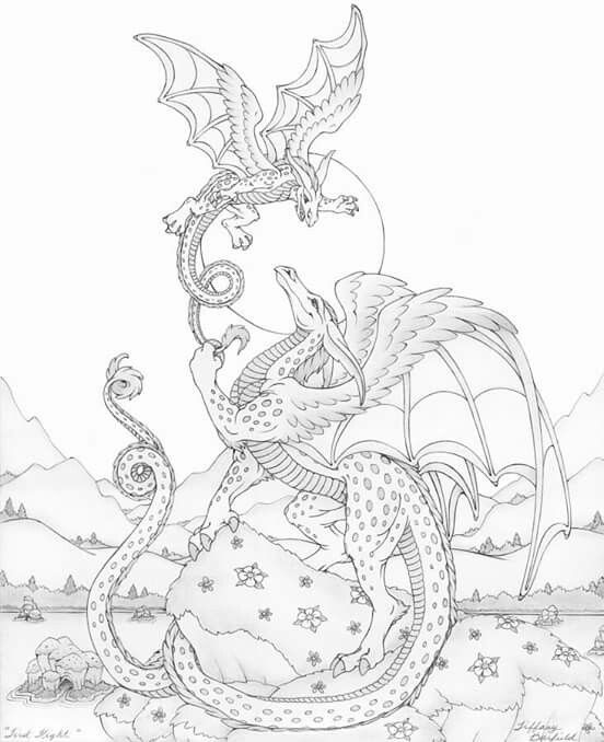 182 best images about mythical dragon/unicorn colouring on ...