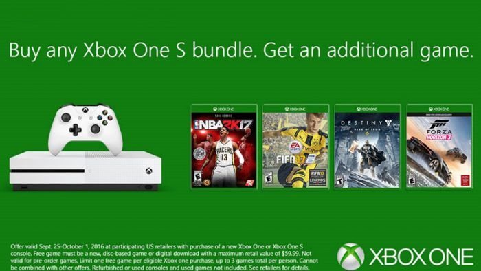 Latest Xbox One S Bundle Sale Nets You An Additional Free Game; Offer Valid One Week , http://goodnewsgaming.com/2016/09/latest-xbox-one-s-bundle-sale-nets-you-an-additional-free-game-offer-valid-one-week.html