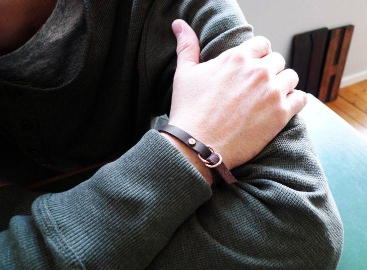 www.877workshop.com — Men's bracelet brown leather copper