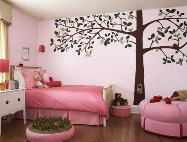 Girls Bedroom Designs with Tree Wall Decals Picture