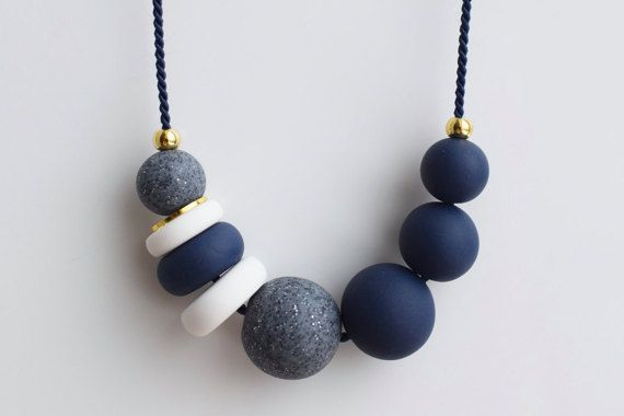 Navy Statement necklace, Blue Chunky necklace, Modern Beaded necklace, Blue Ball necklace, Polymer clay jewelry, Geomteric Handmade necklace
