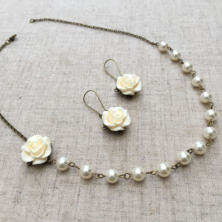 A personal favorite from my Etsy shop https://www.etsy.com/listing/231277518/swarovski-pearl-necklace-and-earrings