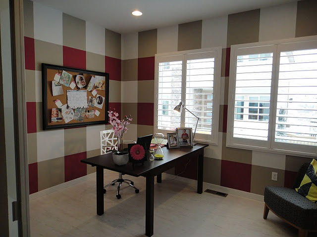 Gingham wall treatment using paint.