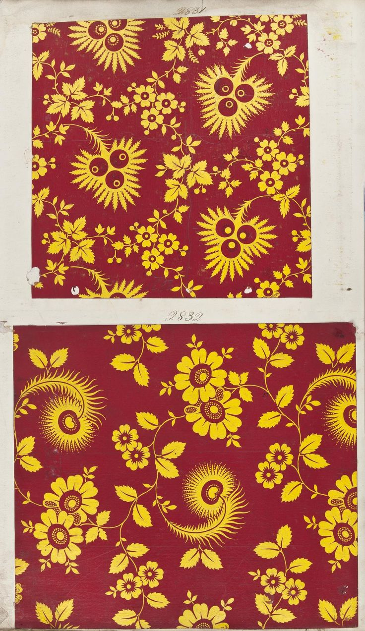 Two textile designs painted onto paper and intended for printed cottons. The first design has stylised yellow leaves and berries on a red ground. The second design has yellow stylised peacock tail feathers and simplified flowers on a red ground. From a pattern book of filling designs painted on paper intended for Turkey red dyed and printed cottons. Part of the Turkey Red Collection, A.1962.1266.1 - A.1962.1266.78: Scottish, Dunbartonshire, by John Orr Ewing and Co., late 19th century