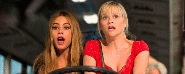 1.  'Hot Pursuit' (2015) PG-13 -  Sofia Vergara & Reese Witherspoon.  -  An uptight and by-the-book cop tries to protect the outgoing widow of a drug boss as they race through Texas pursued by crooked cops and murderous gunmen.  -  COMEDY / ACTION -  © Sensacine