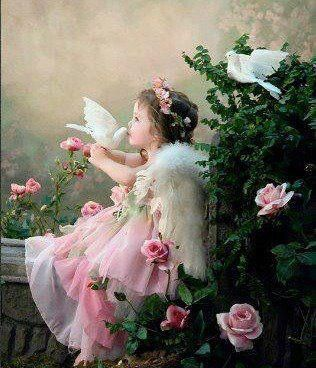 Child Angel with pink roses and white doves. ♥ Precious!  #Angel