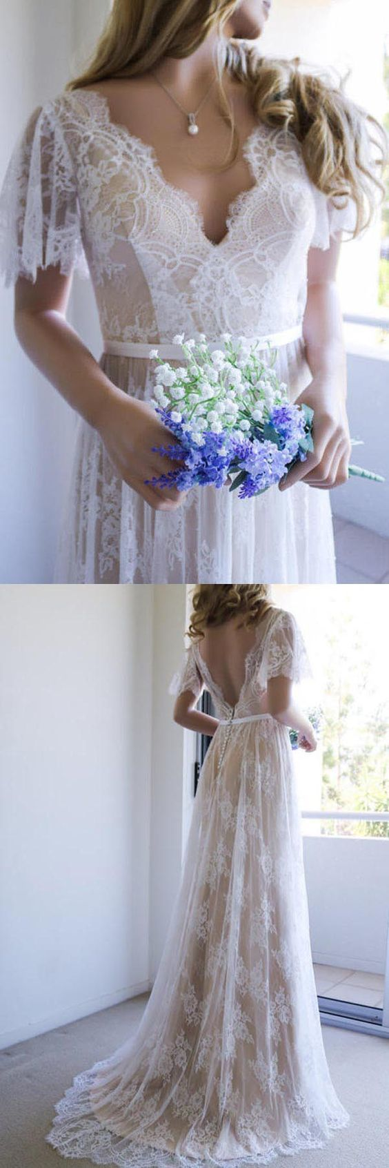 Romantic long white lace wedding dress with open back