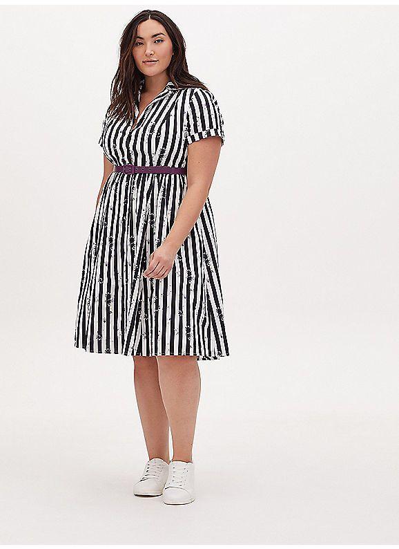 Torrid Beetlejuice Snake Stripe Black White Belted Swing Dress In 2020 Swing Dress Dresses Black And White Gown