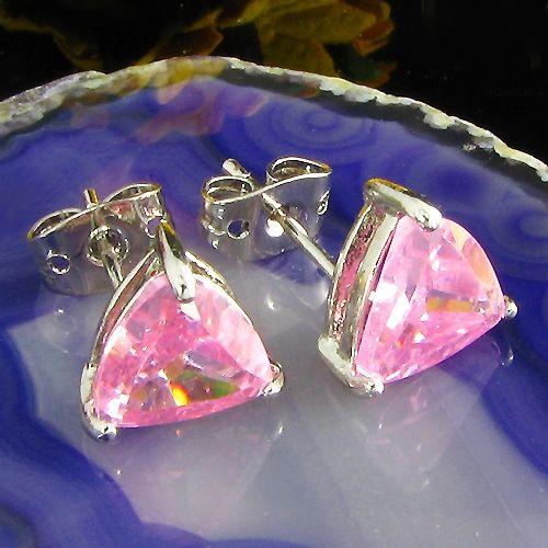 Cercei triunghiulari placati cu aur alb 18k cu safire roz