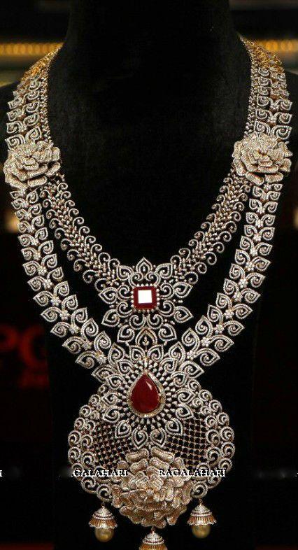 Two Layer Rose Design Diamond Set - Jewellery Designs
