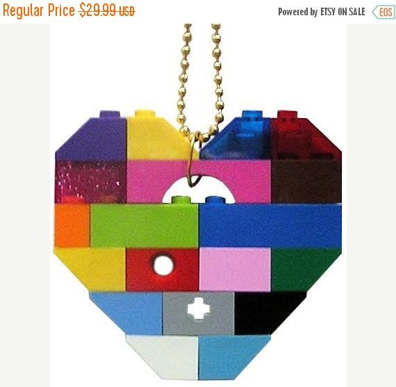 Playful colorful necklace - Chunky heart pendant - made from LEGO (R) bricks on…