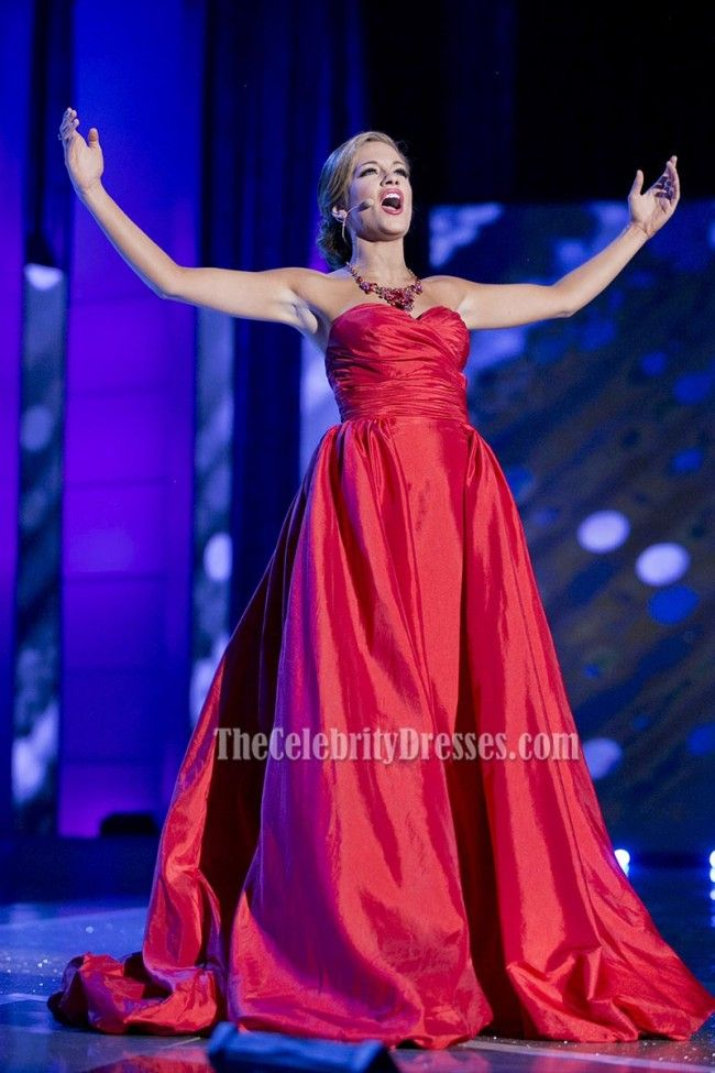 Betty Cantrell Red Strapless Evening Prom Gown Miss America 2015 - TheCelebrityDresses