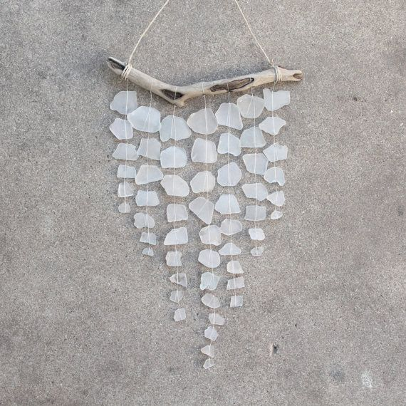 Sea Glass & Driftwood Mobile (and wind chime?) in white by TheRubbishRevival on Etsy.