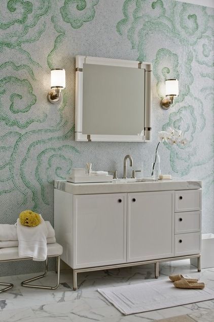 swirling green clouds mosaic tile : Kallista Plumbing