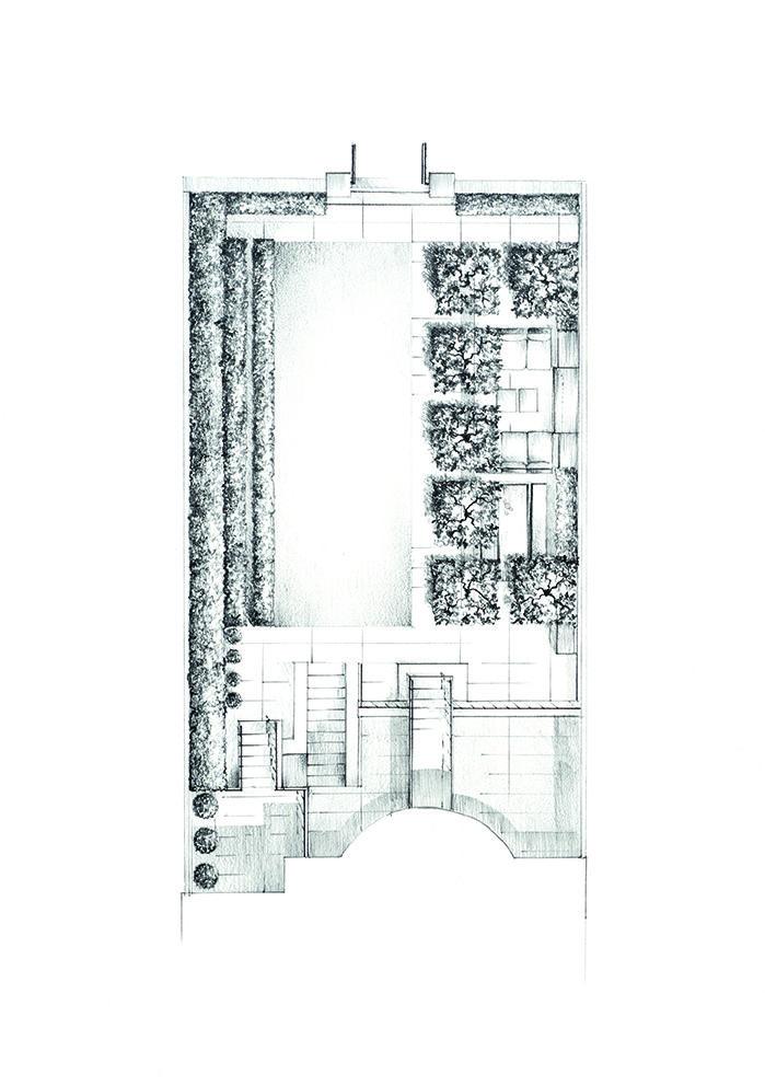 Garden Layout Kensington Illustration By Alan Hughes