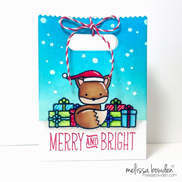 Lawn Fawn - Into the Woods, Toboggan Together, Snow Day, Snow Backdrops, Goodie Bag, Peppermint cord _ adorable gift bag by Melissa at Melissa Bowden Designs