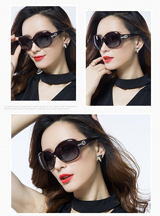 9b26a67a151 Duco Women s Shades Classic Oversized Polarized Sunglasses 100% UV  Protection Purple Frame Gray Lens  Clothing