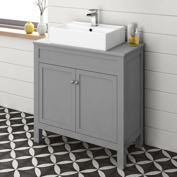800mm Melbourne Grey Countertop Unit And Elisa Basin Floor