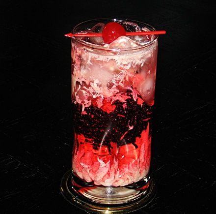 Sex With The Bartender (1 oz. Malibu Coconut Rum 1 oz. Baileys Irish Cream .5 oz. Triple Sec 4-6 oz. 7-Up .75 oz. Grenadine .75 oz. Roses Lime Juice)