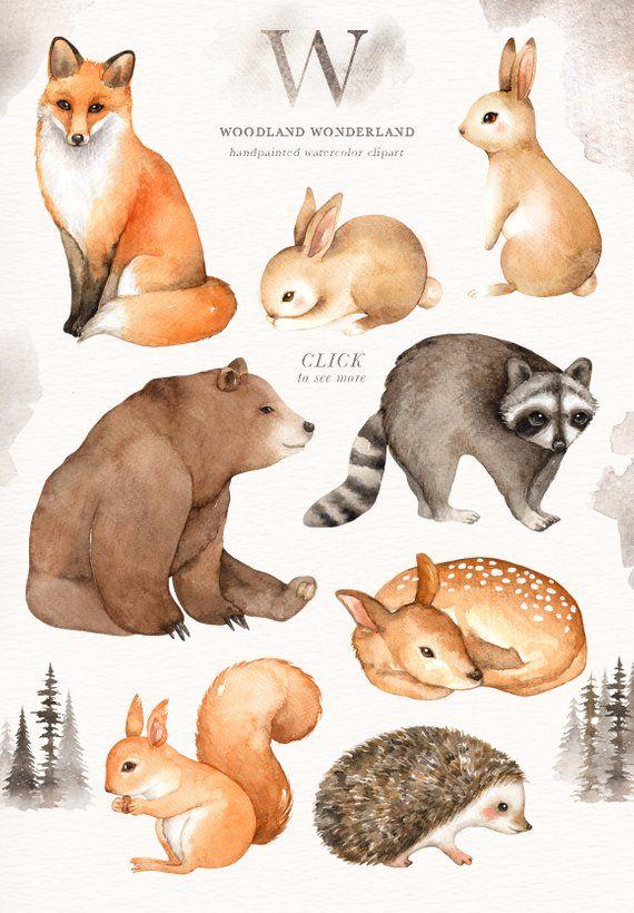 Woodland Wonderland Watercolor Clip Art, Woodland Animals, Kids Clipart,Boho Clipart, Nursery Decor,