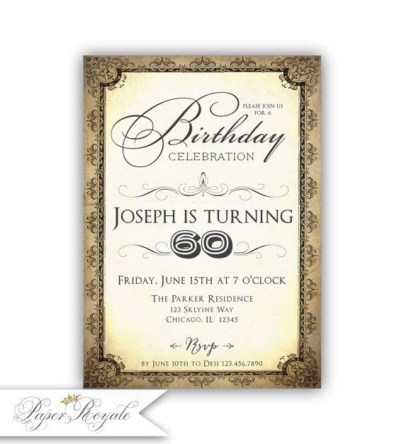 The 25 best 60th birthday invitations ideas – Birthday Invitation 60th Party