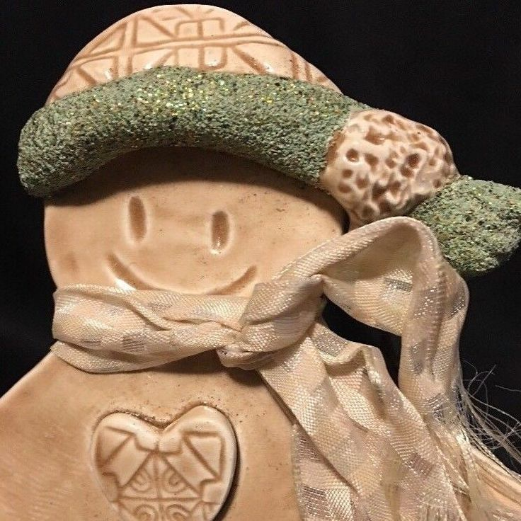 "HTF 7.5"" Hand Crafted CAROL JONES Gingerbread Man CERAMIC Clay Ornament 2003 #CarolJones"
