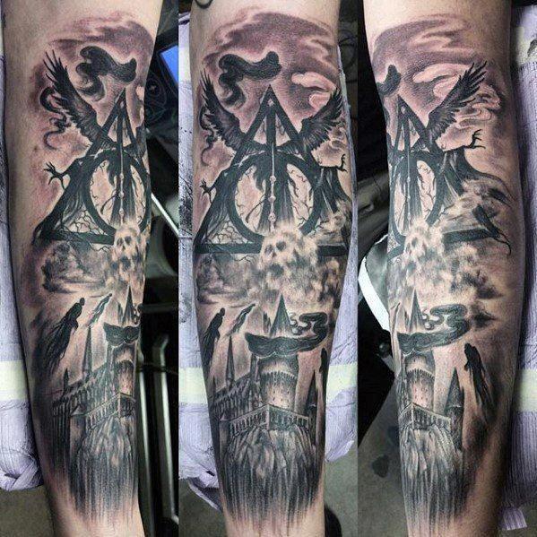 Half Sleeve Tattoos Lower Arm Halfsleevetattoos Tattoo Designs Men Harry Potter Tattoo Sleeve Sleeve Tattoos