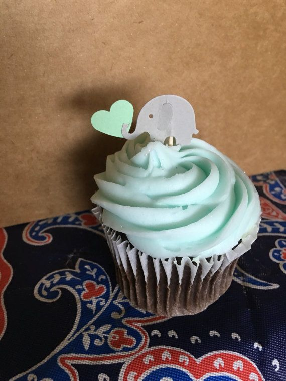 24 elephant cupcake toppers gray and Mint Green by takiecrafts