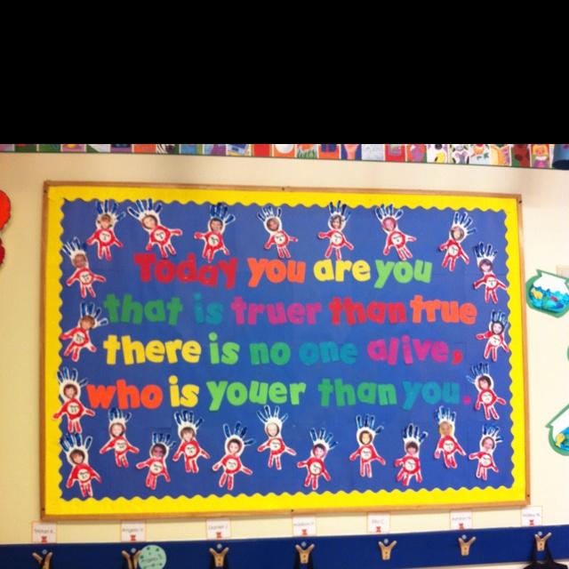 Dr. Seuss Bulletin Board in my Pre K class <3