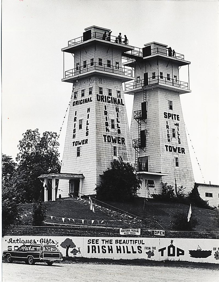 Irish Hills Towers, 1970's: These observation towers were built in 1924 in the Irish Hills of southeast Michigan. The towers are now abandoned and may be torn down.